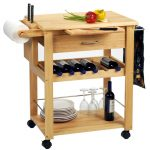 Butcher block idea with wheels and wine rack