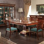 Classic Style Of Dining Room Furniture Set On Dark Hardwood Floor For Home Furnishing Catalogs