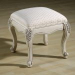 Classic style vanity bench seat with white cushion and crafted wood legs