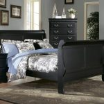Classic styled Sleigh bed frame in black with medium headboard and footboard