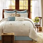 Coastal Harbour House Bedding With Floral Patterned Design With Rustic Basket And Wooden Chair