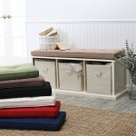 Colorful Bench Pads Indoor With White Bench And Triple Storage For Basket