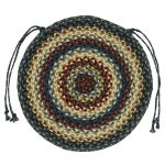 Colorful round country chair pad for wood chair