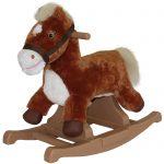 Cool Brown Rocking Horses For Toddlers With Awesome Wood Base