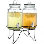 Cool Double Drink Dispenser With Metal Spigo For Lemon And Oranges With Unique Base