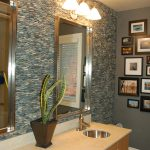 Cool River Rock Tile Sheets On Bathroom Wall With Double Mirrors And Sinks