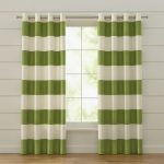 Crate And Barrel Drapes With Green And White Stripped Design