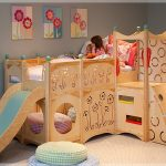 Creative Wooden Small Bunk Beds For Toddlers With Flower And Round Design