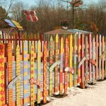 Creative wood fence design for kids playground
