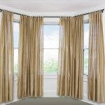 Curtain Rods For Bay Windows With Gold Curtains Color