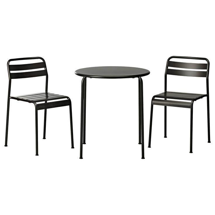 Dark Black Outdoor Bistro Set Ikea With Round Table