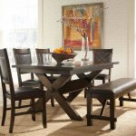 Dark Brown Dinette Sets With Bench And Natural Rug