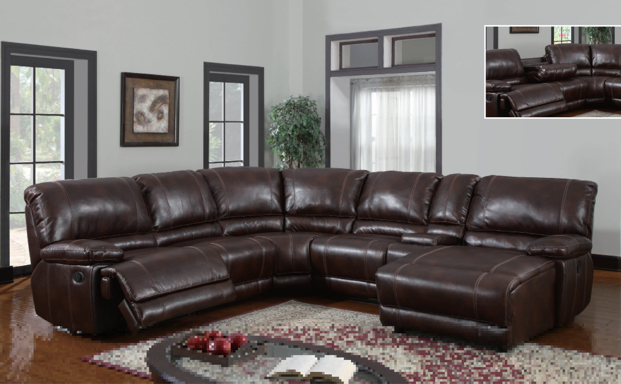 Best sectional sofas with recliners and chaise homesfeed for Brown leather chaise