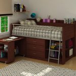 Dark brown finished wood loft bed idea with built in desk drawer system bookshelf and metal ladder