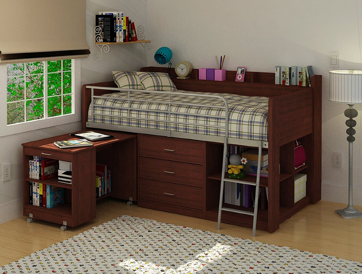 Dark Brown Finished Wood Loft Bed Idea With Built In Desk Drawer System Bookshelf And Metal