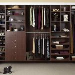 Dark brown wooden closet organizer for clothes and footwear