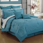 Dark turquoise bed comforter set idea