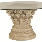 Decorative White Rock Pedestal Table Base For Glass Top