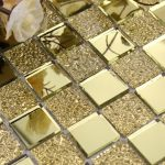Decorative mirror mosaics idea in gold tone
