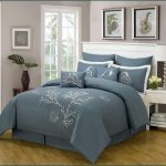 Deep grey comforter set with marine theme motif for california king bed