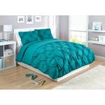 Deep turquoise bed comforter and shams for modern white bed frame