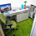 Elegant Green Office Ideas On Chair And Floor Rug With White Desk