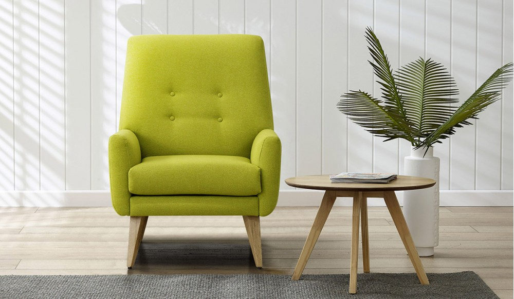 Elegant Lime Green Accent Chair With Arm And Wooden Side Table Plus Grey Rug Plant