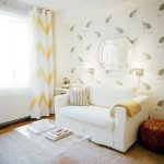Elegant White Living Room With Lucite Coffee Table Ikea Medium Sofa Decorative Wallpaper And White Yellow Stripped Curtain