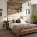 Floor to ceiling wall mount headboard in rustic look