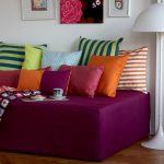 Fresh And Colorful Contemporary Daybed Covers With Adorable Pillows And White Unique Floor Lamp