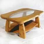 Funky Wood Coffee Table Idea With Transparent Board In The Center
