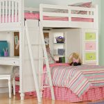 Girls loft bed idea with side desk drawer system ladder and additional trundle
