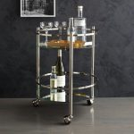 Glass round top wine cart idea with steel construction and wheels