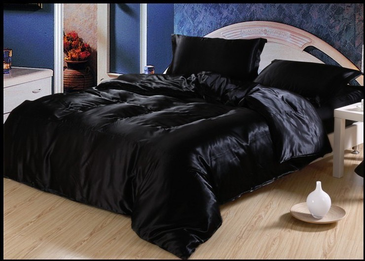 Glossy Black Comforter Bed Set Idea For Modern Frame With White Headboard