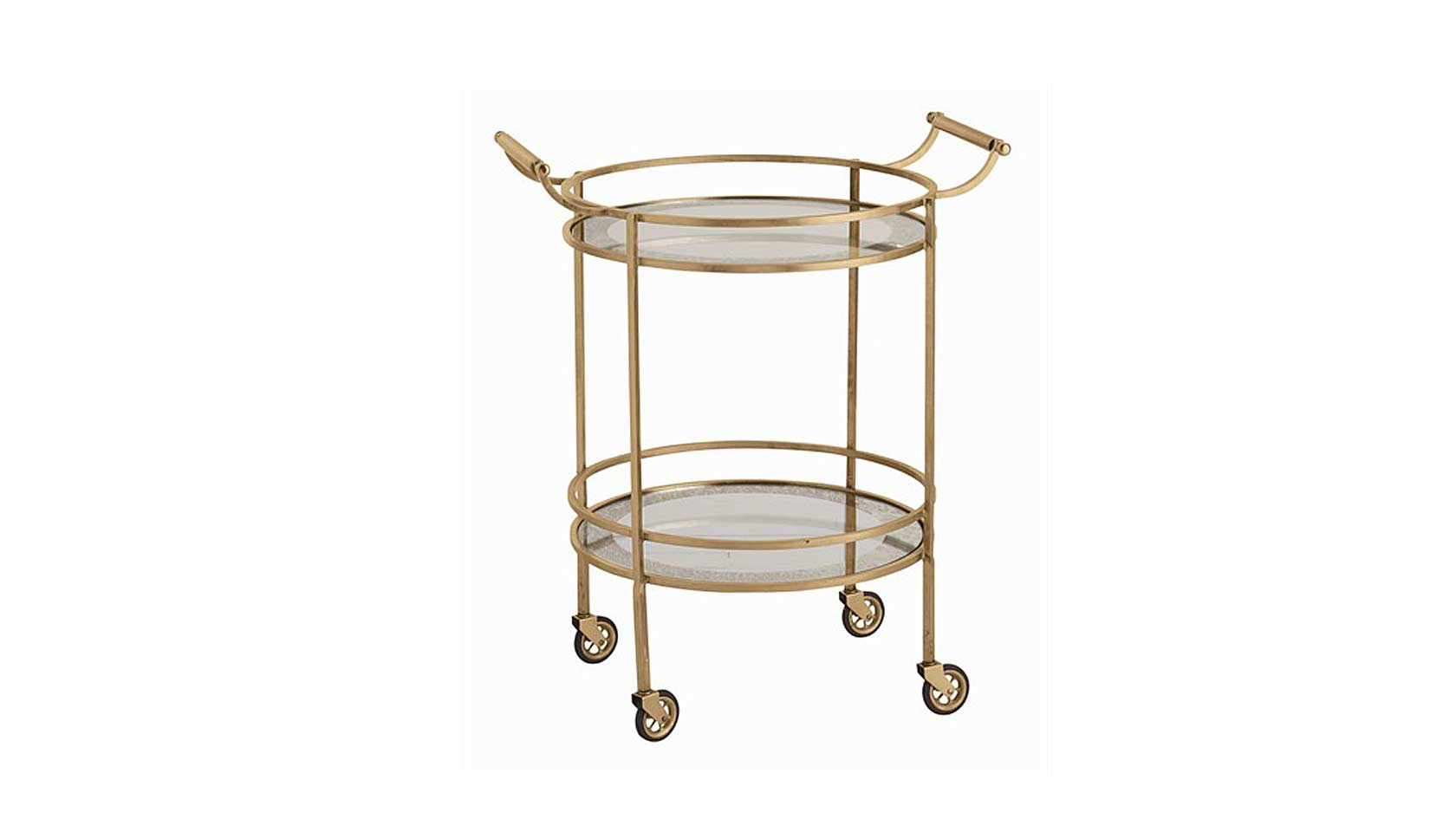 Gold Toned Metal Framed Round Bar Cart Idea With A Pair Of Handling Feature And Wheels