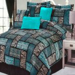Gorgeous comforter set with mix turquoise black and zebra print pattern