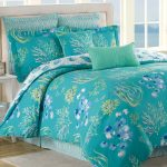 Gorgeous turquoise comforter set with floral pattern