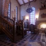 Gothic Home Furnishing Catalogs With Classic Chandelier Antique Stairs And Awesome Fireplace