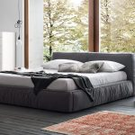 Grey Low Profile Platform Bed Frame With Modern White Side Table Red Rug And White Cabinet