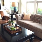 Grey Pottery Barn Manhattan Sofa With Brown Leather Recliner And Black Wooden Table