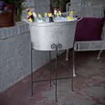 Grey Tub Of Beverage Bucket With Stand And Coconut Tree Design
