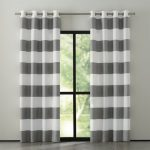 Grey White Stripped Design Of Crate And Barrel Drapes