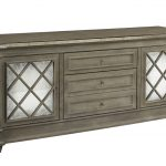 Grey Wooden Mirrored Media Console With Drawers