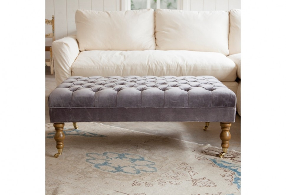 Grey Tufted Leather Ottoman Coffee Table With Antique Wood Legs