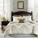 Harbour House Bedding With White Light Blue Pattern And Wooden Side Table Plus White Table Lamp