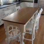 High leg counter table idea from IKEA with wood top and white base four sets of white painted wood chairs