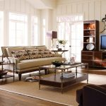 Interior Design For Living Room With White Sofa Glass On Top Table TV Cabinet Set And Warm Rug