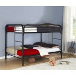 Iron Black Sturdy Bunk Beds For Adults With White Fur Rug