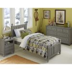 Lake house bed comforter set for single bed grey finished wood bed frame with headboard and footboard  bedroom storage system in grey grey bedside table with drawers