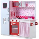 Large toy kitchen in fun colors
